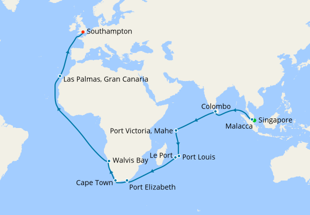 Singapore to Southampton, 23 March 2019 | 36 Nt | Queen Victoria ...
