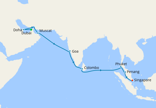 Dubai to Singapore, 28 January 2019 | 16 Nt | Queen Mary 2 ...