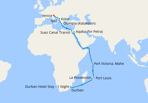 South Africa To Venice Via Mauritius Seychelles With Durban Stay