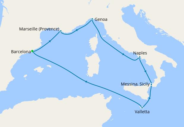 Italy, Malta, Spain, France from Barcelona, 26 July 2019 | 7 Nt