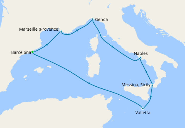 Italy, Malta, Spain, France from Barcelona