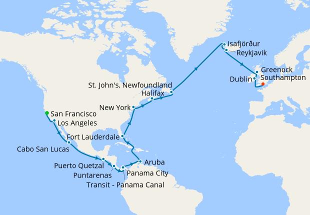 San Francisco to Panama Canal & Southampton, Cunard, 3rd July 2019 ...