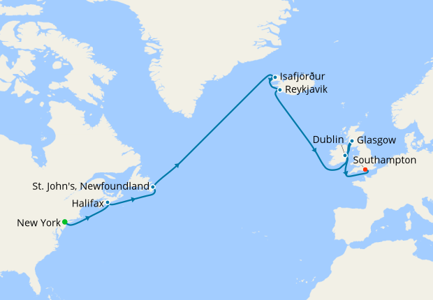 Map Of Ireland To New York.New York Canada Iceland Ireland To So Ton Cunard 23rd July