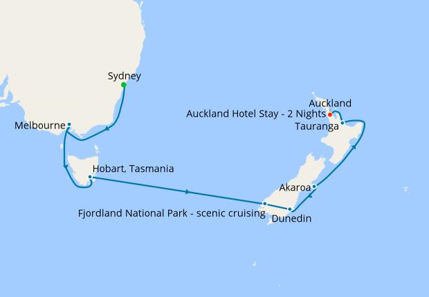 Map Of Australia New Zealand And Tasmania.Australia New Zealand With Sydney Auckland Stays 13 February