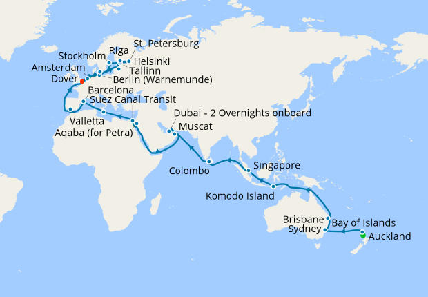 World Cruise - Auckland to Dover, 9 May 2019 | 61 Nt | Sea ...