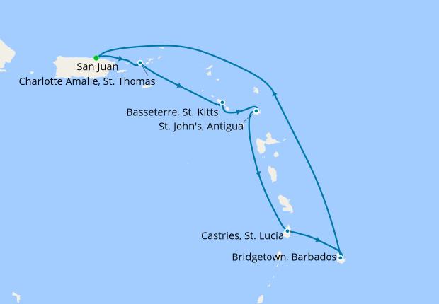 Southern Caribbean from San Juan, 25 May 2019   9 Nt