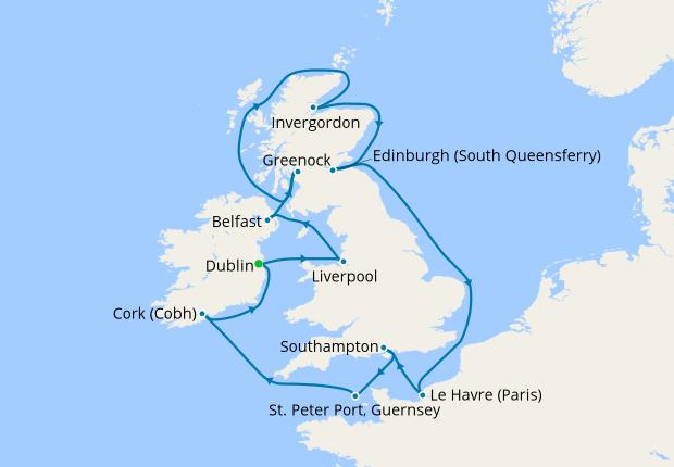 British Isles (from Dublin), 9 June 2019 | 12 Nt | Crown Princess