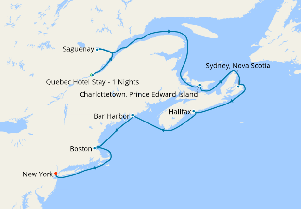 Map Of New England And Quebec.Classic Canada New England From Quebec Princess Cruises