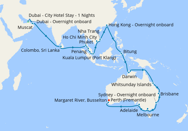 Dubai to Fremantle, 29 January 2020 | 46 Nt | Queen Mary 2