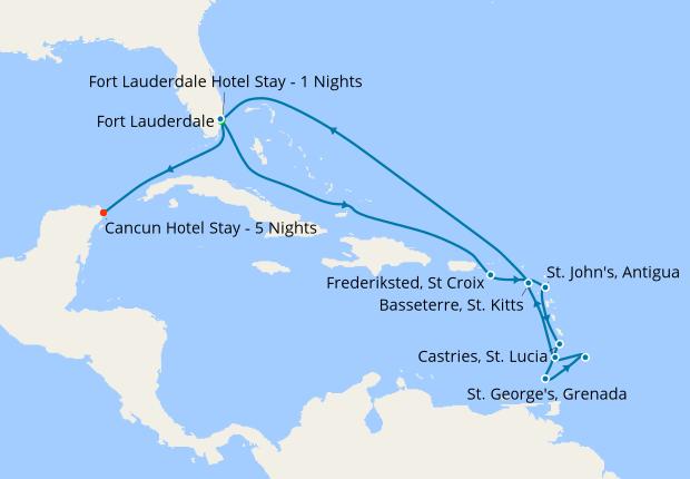 Cancun All Inclusive Break & Southern Caribbean, 22 February 2020   18 Nt    Celebrity Silhouette   22 February 2020   Celebrity Cruises   IgluCruise