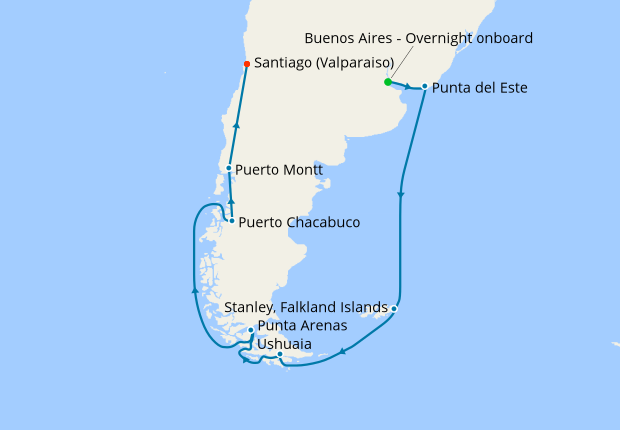 Cape Horn South America Map South America & Cape Horn from Buenos Aires, 25 January 2019 | 18