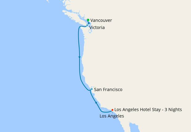 Pacific Coastal from Vancouver to LA with Stays