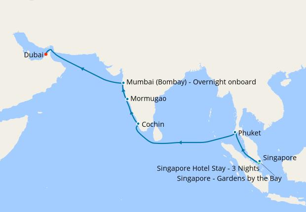 Singapore, Thailand & India to Dubai with stays, 16 January