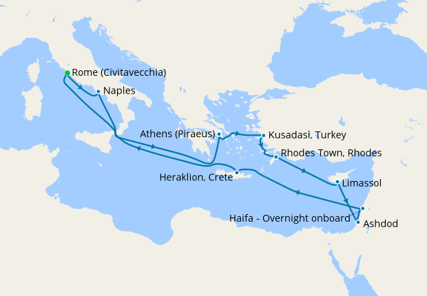 Map Of Italy Greece And Turkey.Italy Greece Israel Mediterranean Wonders From Rome 2 December