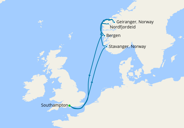 Norwegian Fjords From Southampton 31 May 2020