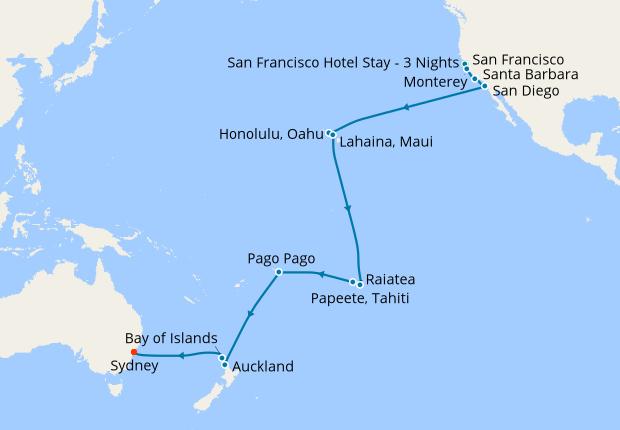 Map Of California And Hawaii.California Hawaii To Sydney With San Francisco Stay 29 May 2020