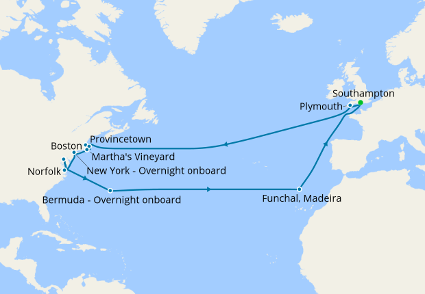 Voyage to New England & Bermuda from Southampton