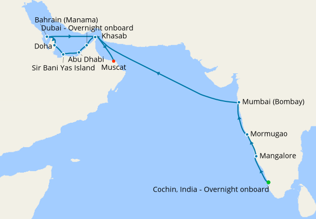 Cruise April 2020.Easter Journey To Arabia From Cochin India 1 April 2020