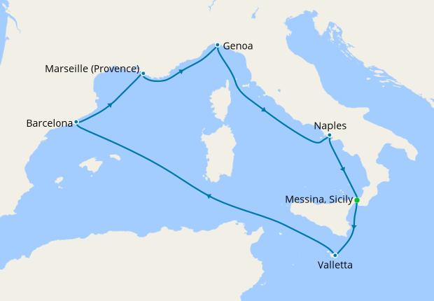 Italy, Malta, Spain & France from Messina, 12 May 2020 | 7 ...