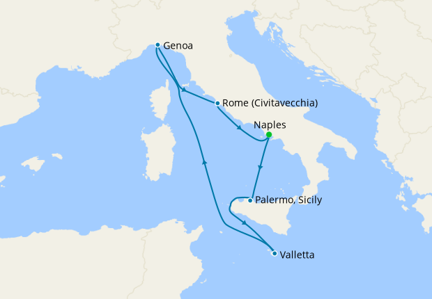 Italy, Malta, Spain & France from Messina, 25 August 2020 ...
