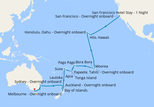 Hawaii Tahiti Fiji New Zealand Australia From San Francisco To Mellbourne 9 February 2019 41 Nt Msc Magnifica 09 Cruises