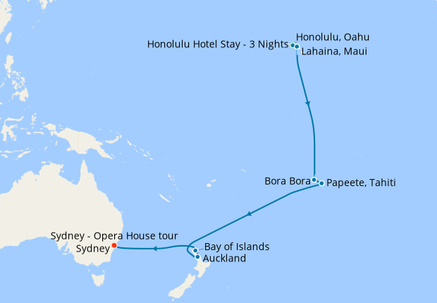 Hawaii Bora New Zealand To Australia With Stays 25