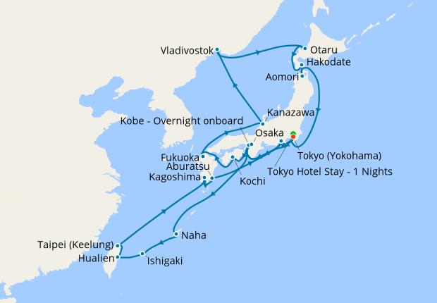 Japan, Taiwan & Russia from Tokyo, 26 March 2020 | 31 Nt ... on korean peninsula map, timor-leste map, taipei city map, hong kong map, asean map, honshu map, pakistan map, korea map, asia map, india map, australia map, ivory coast map, philippines map, china map, russia map, japan map, ryukyu islands map, jordan map, europe map, cambodia map,