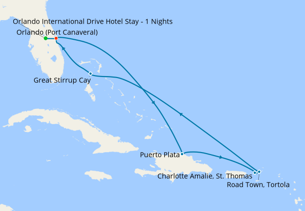 Bahamas, Dominican Republic & Leeward Islands from Orlando