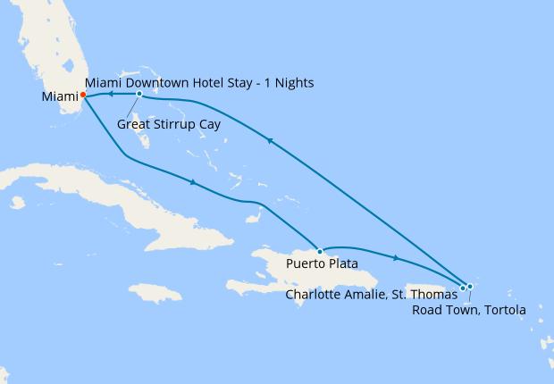Bahamas, Dominican Republic & Leeward Islands from Miami