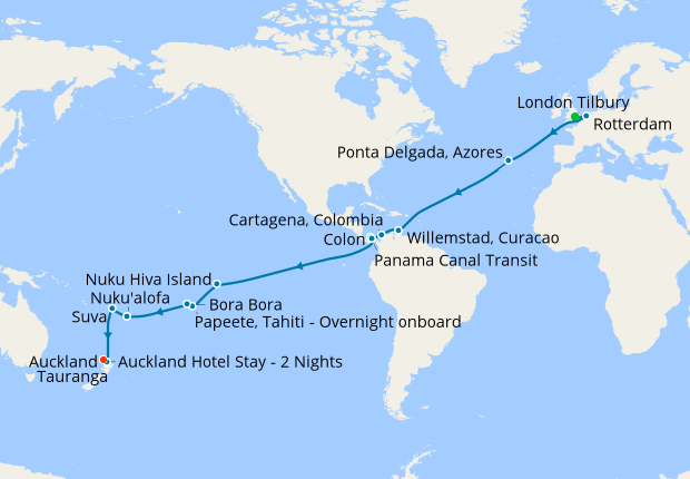 London Tilbury, Caribbean, Panama Canal & South Pacific to Auckland with  Stay, 06 Jan 2020