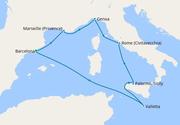 Spain, France, Italy & Malta from Barcelona, 2 January ...