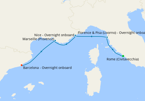 Cities of the Western Med Voyage from Rome