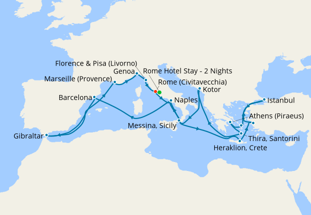 Mediterranean Collection Inaugural Cruise with Rome Stay