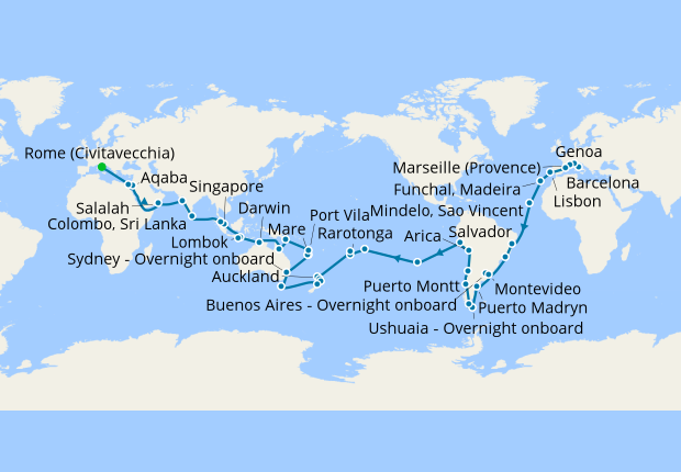World Cruise from Rome