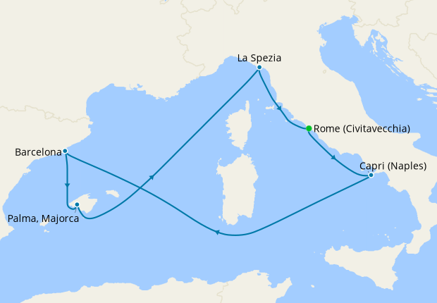 Western Mediterranean from Rome