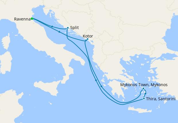 Santorini & The Greek Isles from Ravenna