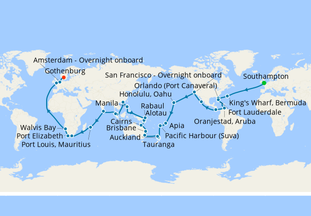 Full World Voyage from Southampton