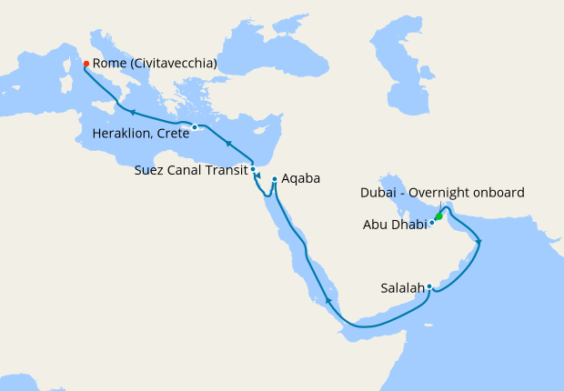 MSC Grand Voyages from Dubai to Rome, 12 March 2021 | 17 ...