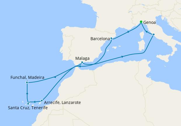 Italy, Spain & Portugal from Genoa