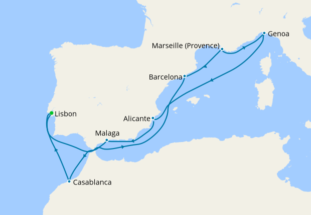 Portugal, Spain, France, Italy & Morocco from Lisbon