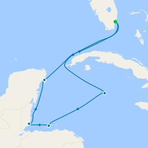 Cayman Islands & Yucatan Peninsula from Miami