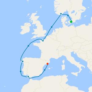 North Sea to the Mediterranean from Copenhagen