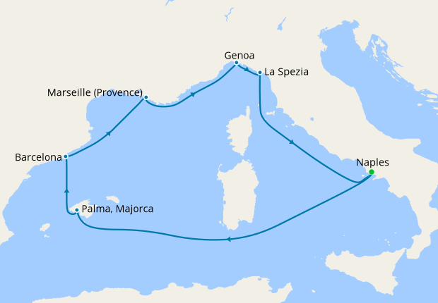 Italy, Spain & France from Naples