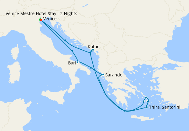 Italy, Montenegro, Greece & Albania from Venice with Stay
