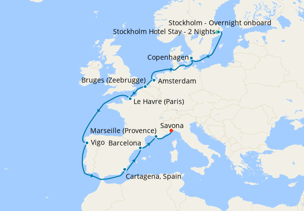 Baltic Sea to the Mediterranean from Stockholm with Stay