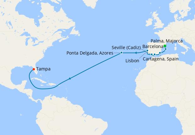 Transatlantic from Barcelona to Tampa