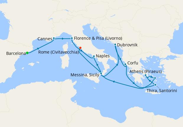 Italy, France, Spain & Greek Isles from Barcelona