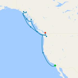 Alaska with Glacier Bay from San Diego