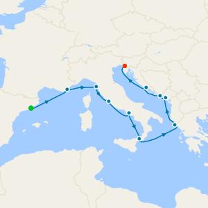 Italy, Greece & Croatia from Barcelona