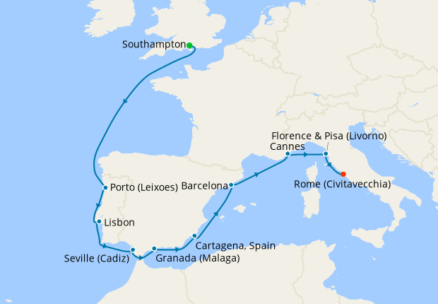 Italy, France, Spain & Portugal from Southampton